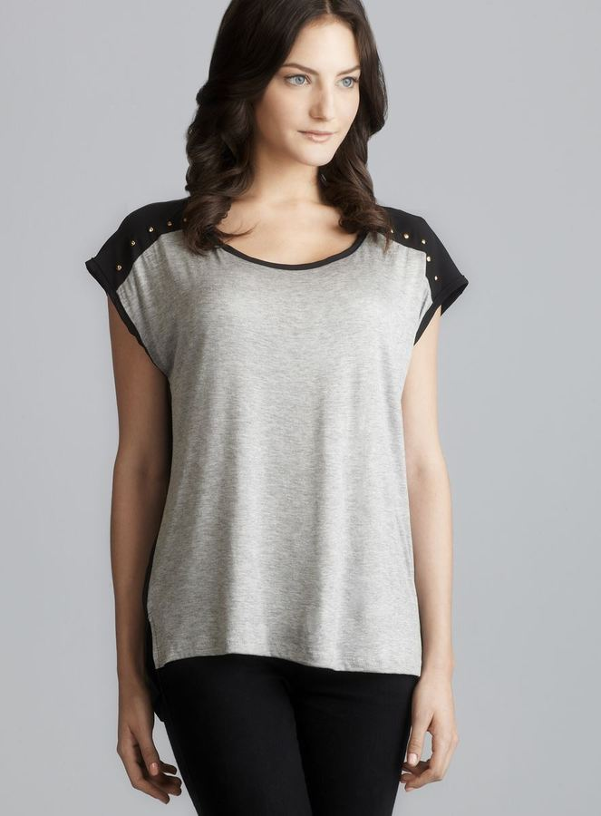 Romeo & Juliet Couture Colorblock Studded Shoulder Knit Top