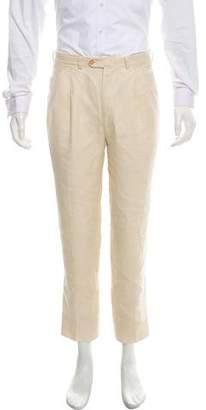 Gucci Linen Flat-Front Pants
