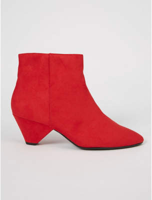 George Red Suede Effect Triangle Heel Ankle Boots