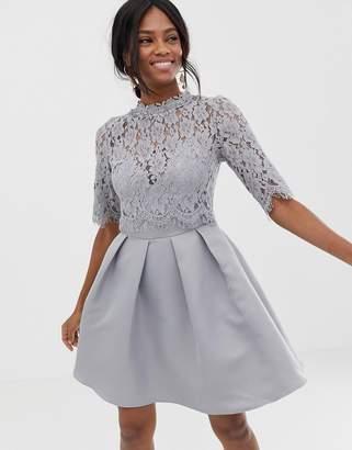 65f57cf5ff Little Mistress 3/4 sleeve mini skater dress with lace upper