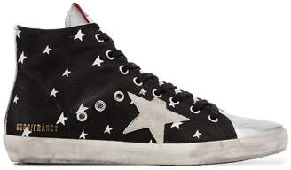Golden Goose black Francy star print leather high-top sneakers