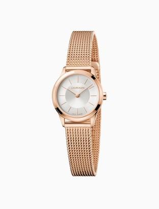 Calvin Klein minimal rose gold mesh watch