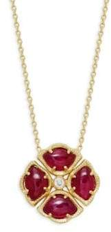 Amrapali Manjari Lotus Ruby & Diamond 18k Yellow Gold Pendant Necklace