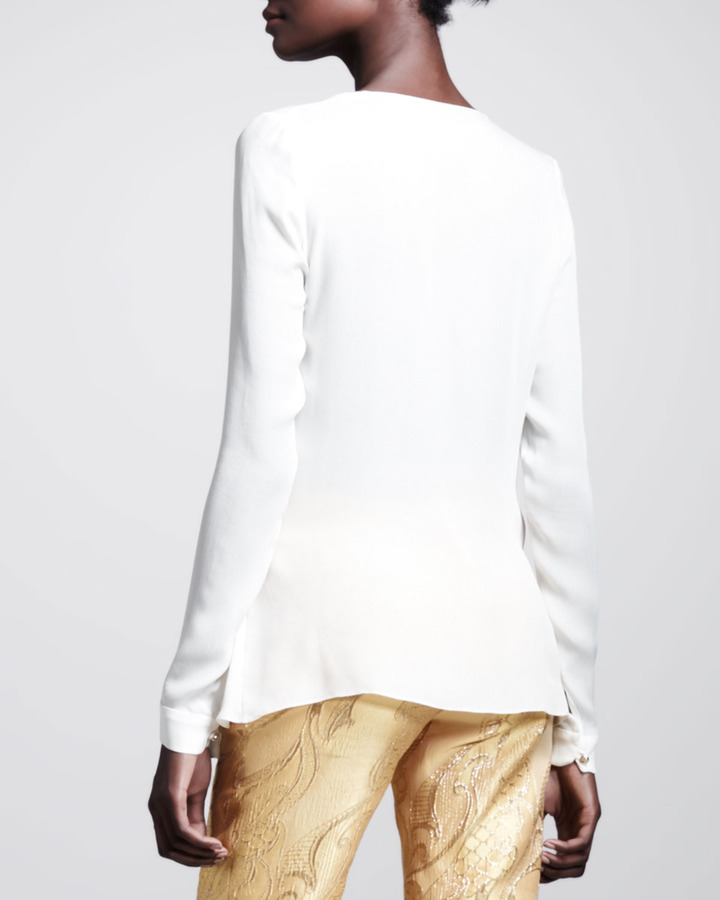 Wes Gordon Georgette Draped Wrap Blouse
