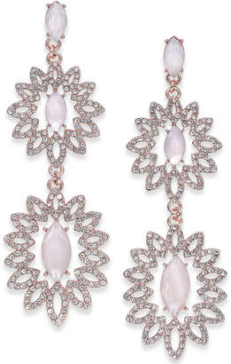 INC International Concepts I.n.c. Rose Gold-Tone Pave & Colored Stone Double Drop Earrings, Created for Macy's