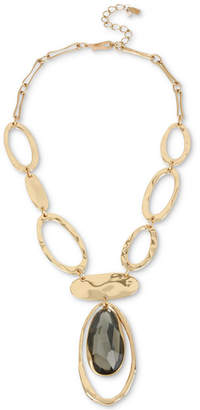 "Robert Lee Morris Soho Gold-Tone Oval Link & Stone Lariat Necklace, 18"" + 3"" extender"