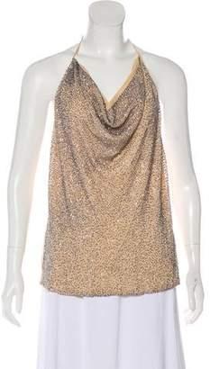 Haute Hippie Embellished Silk Halter Top