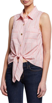 MICHAEL Michael Kors Striped Tie-Front Linen Shirt