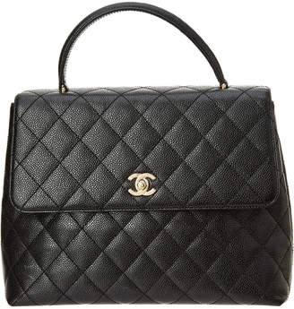 Chanel Black Quilted Caviar Leather Jumbo Kelly