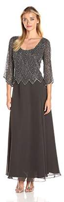 J Kara Women's Scoop Neck 3/4 Sleeves Long Dress