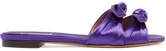 Tabitha Simmons Cleo Bow-embellished Satin Slides - Purple