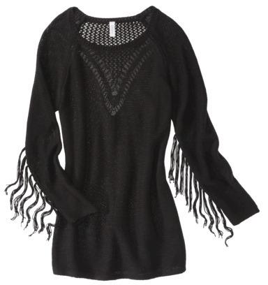 Xhilaration Juniors Fringe Detail Tunic Sweater - Black