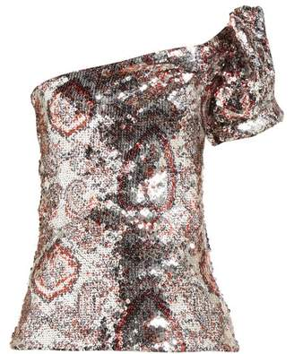 1a43a3fbeffbc Isabel Marant Ocho Sequinned One Shoulder Top - Womens - Silver Multi