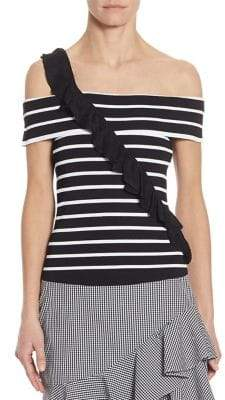 Scripted Ruffled Striped Off-The-Shoulder Sweater