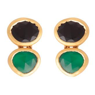 Green & Black Carousel Jewels Onyx Drop Earrings
