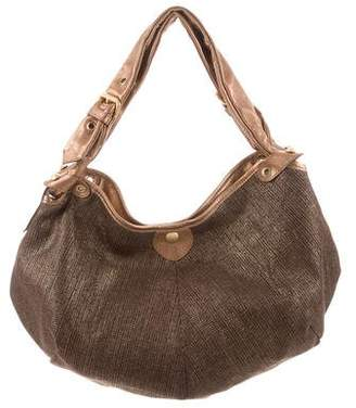 Jimmy Choo Metallic Canvas Leather Trim Hobo