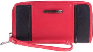 Club Rochelier Women's Zip Around Wristlet and Cell Phone Holder (Red)