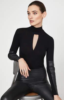 BCBGMAXAZRIA Faux Leather-Trimmed Turtleneck Top