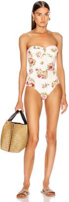 Zimmermann Honour Balconette Swimsuit in Cream Floral | FWRD