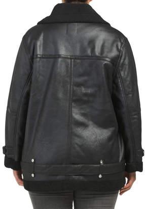 AVEC LES FILLES Plus Faux Leather Sherpa Biker Jacket