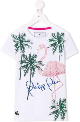 Philipp Plein Junior flamingo studded T-shirt