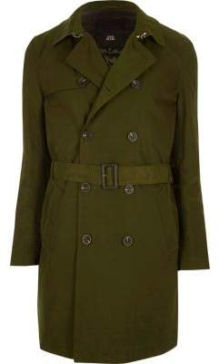River Island Dark green belted double breasted trench coat