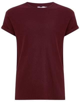 Topman Mens Burgundy Linen Muscle Fit T-Shirt