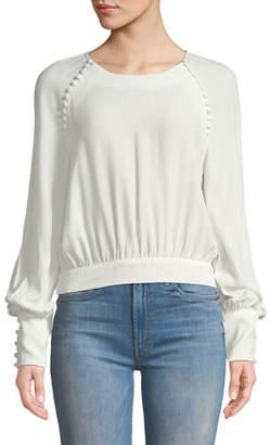Bardot Tie-Back Button Long-Sleeve Blouse