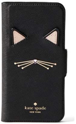 Kate Spade cat applique iPhone 7/8 & 7/8 Plus folio case