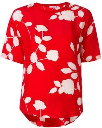 P.A.R.O.S.H. floral print ribbed collar T-shirt