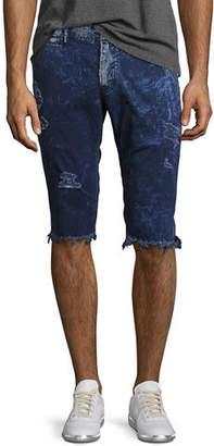 PRPS Distressed Twill Slim Cutoff Shorts $228 thestylecure.com