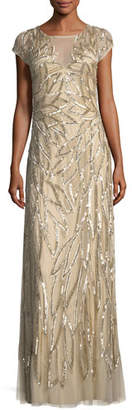 Aidan Mattox Embellished Leaf-Motif Short-Sleeve Gown