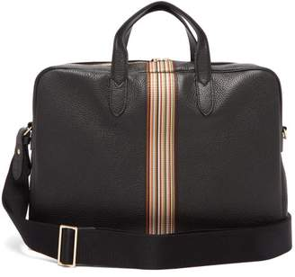 Signature Stripe Leather Briefcase - Mens - Black