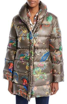 Etro Snap-Front Long-Sleeve Multicolor Lemur-Print Puffer Coat