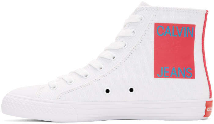 Calvin Klein 205W39NYC White Canvas Canter High-Top Sneakers