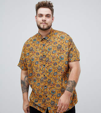 Asos DESIGN Plus regular mustard paisley printed shirt in viscose