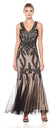 Betsy & Adam Women's Lace Gown with Godets, Black/Nude, 6