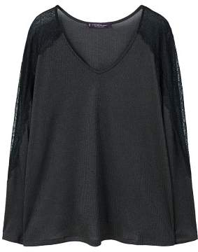 Violeta BY MANGO Lace sleeve t-shirt