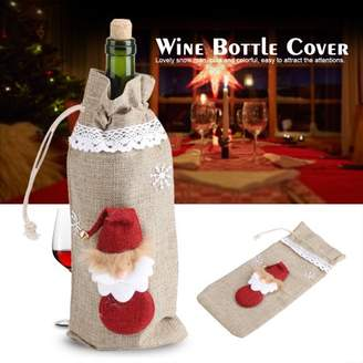 Yosoo YOSOO Anti-bacterial Christmas Decorations Snow Man Wine Bottle Cover Bags Dinner Party Gift For Wine bottle decorate(Linen)
