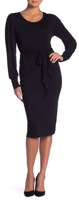 Bobeau Waist Tie Knit Midi Dress