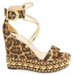 Christian Louboutin Chocazeppa 120 Leopard Lurex Platform Wedge Sandals