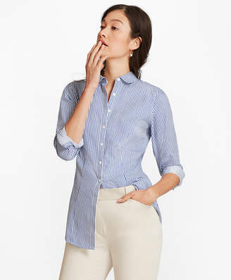 Brooks Brothers Petite Non-Iron Tailored-Fit Striped Cotton Golf-Collar Shirt