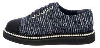 Chanel Tweed Faux-Pearl CC Oxfords