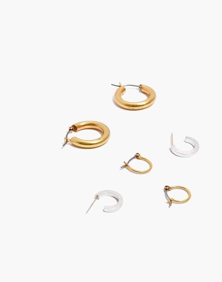 Madewell Three-Pack Hoop Earring Set