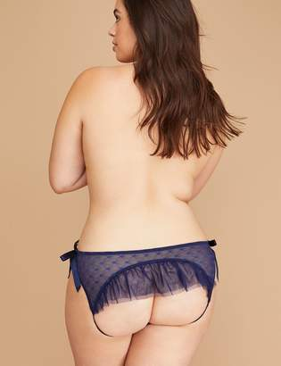 Star Mesh Ruffle Open-Back Panty