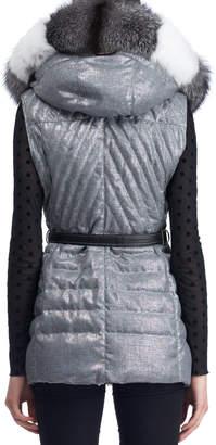 Gorski Apres-Ski Down-Fill Vest with Fox Fur Hood, Gray
