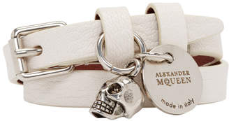 Alexander McQueen White and Silver Double Wrap Bracelet