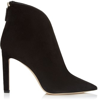71548591ffd Jimmy Choo BOWIE 100 Black Suede Pointed Toe Booties with Plexi Insert