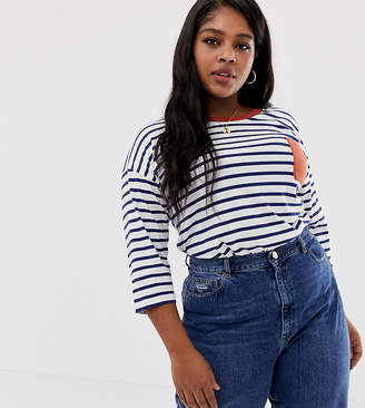 Asos DESIGN Curve top in stripe with long sleeve and contrast pocket detail