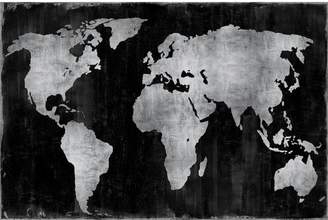 East Urban Home 'The World' Graphic Art Print on Canvas in Silver and Black